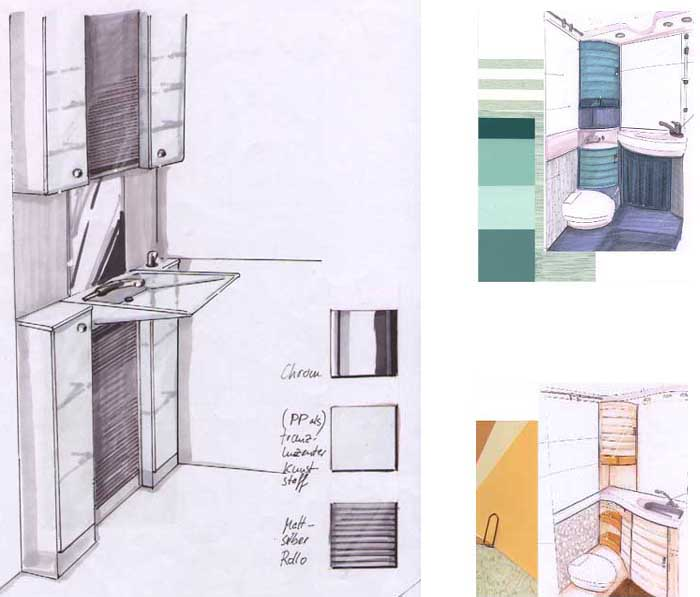 color shape and material are chosen to visualize space i use sketches for the presentation a bathroom - Mobile Bathroom
